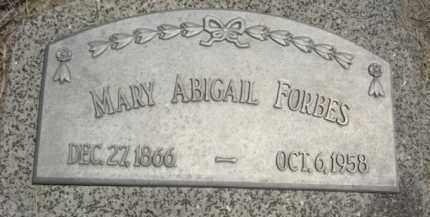 FORBES, MARY ABIGAIL - Nance County, Nebraska | MARY ABIGAIL FORBES - Nebraska Gravestone Photos