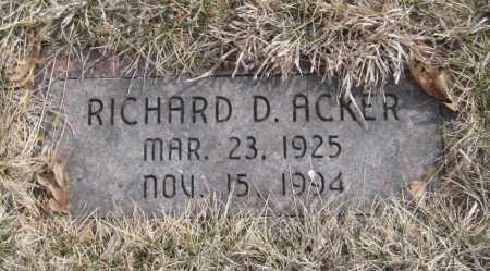 ACKER, RICHARD D. - Saline County, Nebraska | RICHARD D. ACKER - Nebraska Gravestone Photos