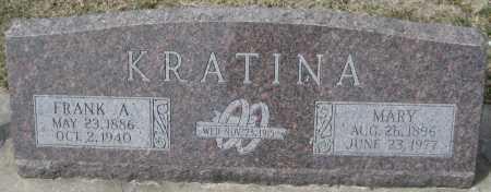 KRATINA, MARY - Saline County, Nebraska   MARY KRATINA - Nebraska Gravestone Photos