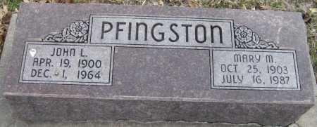 PFINGSTON, JOHN L. - Saline County, Nebraska | JOHN L. PFINGSTON - Nebraska Gravestone Photos