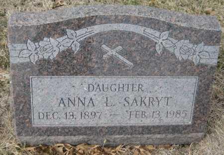 SAKRYT, ANNA L. - Saline County, Nebraska | ANNA L. SAKRYT - Nebraska Gravestone Photos