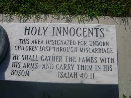 HOLY INNOCENTS, MONUMENT FOR - Saunders County, Nebraska | MONUMENT FOR HOLY INNOCENTS - Nebraska Gravestone Photos