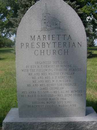 MARIETTA CEMETERY, INFORMATION ABOUT - Saunders County, Nebraska   INFORMATION ABOUT MARIETTA CEMETERY - Nebraska Gravestone Photos
