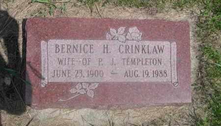 CRINKLAW TEMPLETON, BERNICE H. - Saunders County, Nebraska | BERNICE H. CRINKLAW TEMPLETON - Nebraska Gravestone Photos