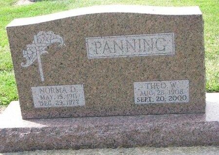 PANNING, THEODORE W. - Washington County, Nebraska | THEODORE W. PANNING - Nebraska Gravestone Photos
