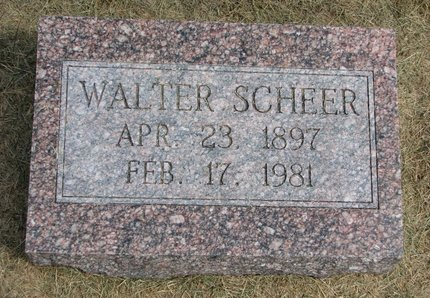 SCHEER, WALTER - Washington County, Nebraska | WALTER SCHEER - Nebraska Gravestone Photos