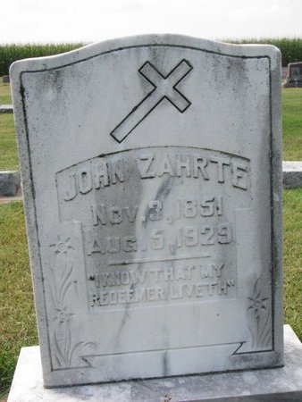 ZAHRTE, JOHN - Washington County, Nebraska | JOHN ZAHRTE - Nebraska Gravestone Photos