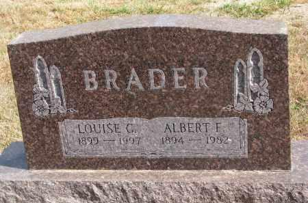 BRADER, ALBERT F. - Wayne County, Nebraska | ALBERT F. BRADER - Nebraska Gravestone Photos