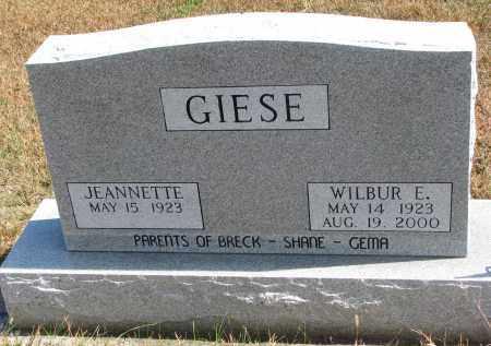 GIESE, WILBUR E. - Wayne County, Nebraska | WILBUR E. GIESE - Nebraska Gravestone Photos