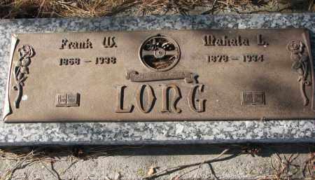 LONG, FRANK W. - Wayne County, Nebraska | FRANK W. LONG - Nebraska Gravestone Photos
