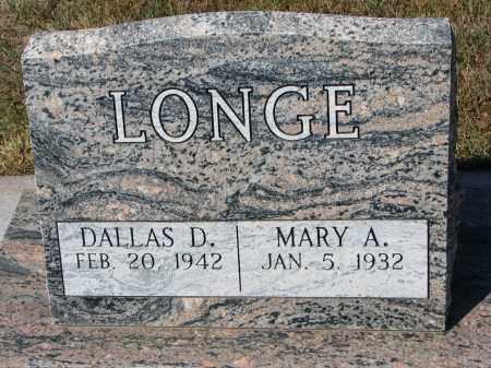 LONGE, DALLAS D. - Wayne County, Nebraska   DALLAS D. LONGE - Nebraska Gravestone Photos