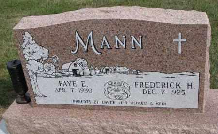 MANN, FREDERICK H. - Wayne County, Nebraska   FREDERICK H. MANN - Nebraska Gravestone Photos
