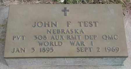 TEST, JOHN F. (WW I) - Wayne County, Nebraska   JOHN F. (WW I) TEST - Nebraska Gravestone Photos