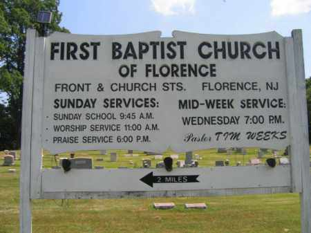 CEMETERY SIGN, FLORENCE BAPTIST CHURCH - Burlington County, New Jersey   FLORENCE BAPTIST CHURCH CEMETERY SIGN - New Jersey Gravestone Photos