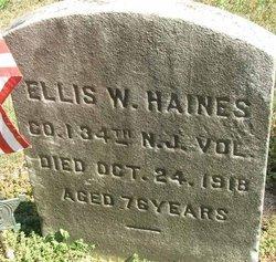 HAINES, ELLIS W. - Burlington County, New Jersey   ELLIS W. HAINES - New Jersey Gravestone Photos