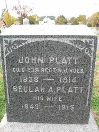 PLATT, JOHN - Burlington County, New Jersey   JOHN PLATT - New Jersey Gravestone Photos