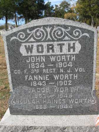 WORTH, JOHN - Burlington County, New Jersey | JOHN WORTH - New Jersey Gravestone Photos