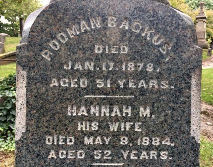 BACKUS, RODMAN - Essex County, New Jersey   RODMAN BACKUS - New Jersey Gravestone Photos