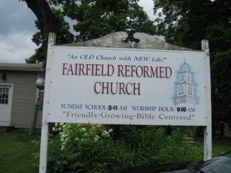 CEMETERY CHURCH SIGN, FAIRFIELD REFORMED - Essex County, New Jersey   FAIRFIELD REFORMED CEMETERY CHURCH SIGN - New Jersey Gravestone Photos