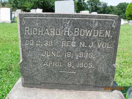 BOWDEN, RICHARD H. (A) - Hunterdon County, New Jersey | RICHARD H. (A) BOWDEN - New Jersey Gravestone Photos
