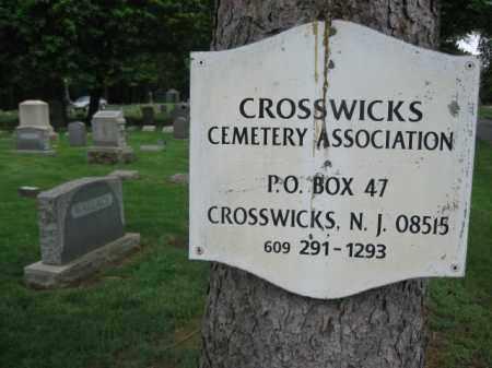 CEMETERY SIGN, CROSSWICKS - Mercer County, New Jersey | CROSSWICKS CEMETERY SIGN - New Jersey Gravestone Photos