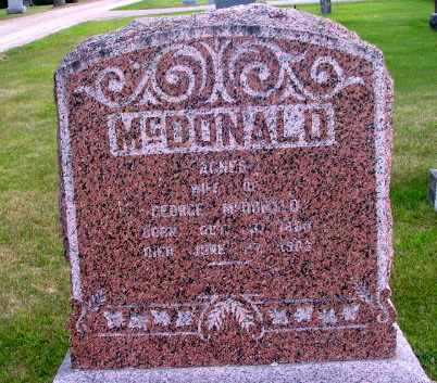MCDONALD, AGNES - Cass County, North Dakota | AGNES MCDONALD - North Dakota Gravestone Photos