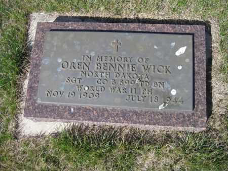 WICK, OREN BENNIE - Kidder County, North Dakota | OREN BENNIE WICK - North Dakota Gravestone Photos