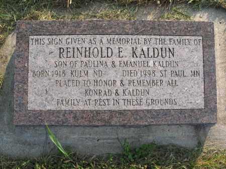 KALDUN 036, REINHOLD E. MEMORIAL - LaMoure County, North Dakota | REINHOLD E. MEMORIAL KALDUN 036 - North Dakota Gravestone Photos