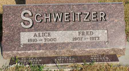 SCHWEITZER, ALICE E. - Logan County, North Dakota | ALICE E. SCHWEITZER - North Dakota Gravestone Photos