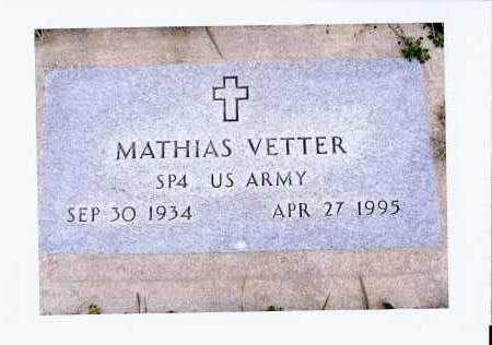 VETTER, MATHIAS - McIntosh County, North Dakota   MATHIAS VETTER - North Dakota Gravestone Photos
