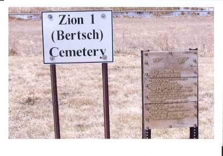 ZION #1 BERTSCH CEMETERY, SIGN AT ENTRANCE - McIntosh County, North Dakota | SIGN AT ENTRANCE ZION #1 BERTSCH CEMETERY - North Dakota Gravestone Photos