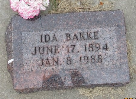 BAKKE, IDA - Nelson County, North Dakota | IDA BAKKE - North Dakota Gravestone Photos