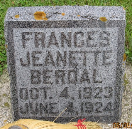 BERDAL, FRANCES JEANETTE - Nelson County, North Dakota | FRANCES JEANETTE BERDAL - North Dakota Gravestone Photos