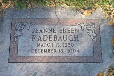 RADEBAUGH, JEANNE BREEN - Traill County, North Dakota | JEANNE BREEN RADEBAUGH - North Dakota Gravestone Photos