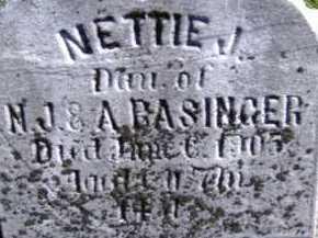 BASINGER, NETTIE J. - Allen County, Ohio | NETTIE J. BASINGER - Ohio Gravestone Photos