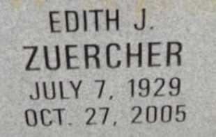ZUERCHER, EDITH J. - Allen County, Ohio   EDITH J. ZUERCHER - Ohio Gravestone Photos
