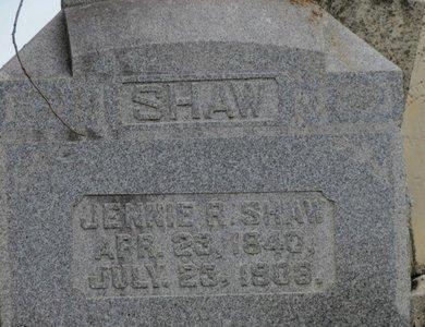 SHAW, JENNIE R. - Ashland County, Ohio   JENNIE R. SHAW - Ohio Gravestone Photos