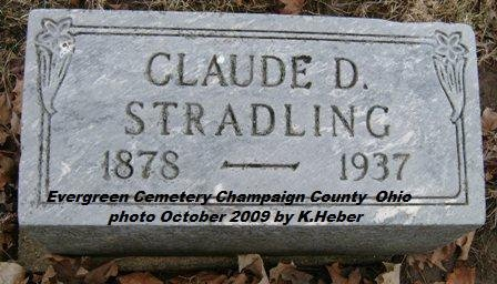 STRADLING, CLAUDE DUVAL - Champaign County, Ohio | CLAUDE DUVAL STRADLING - Ohio Gravestone Photos