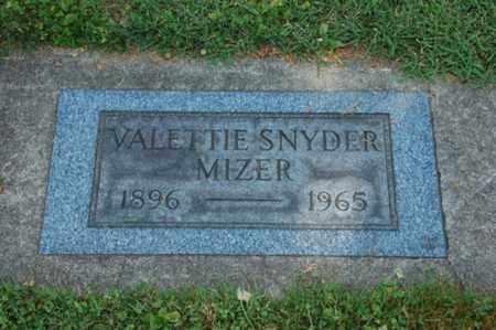 SNYDER MIZER, VALETTIE - Coshocton County, Ohio | VALETTIE SNYDER MIZER - Ohio Gravestone Photos