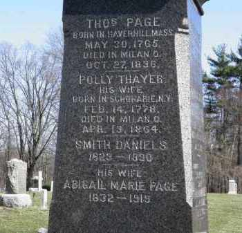 PAGE, POLLY - Erie County, Ohio | POLLY PAGE - Ohio Gravestone Photos