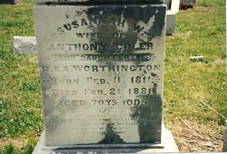WORTHINGTON COLER, SUSANNAH - Fayette County, Ohio | SUSANNAH WORTHINGTON COLER - Ohio Gravestone Photos