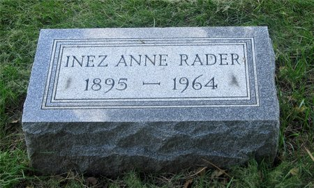 RADER, INEZ ANNE - Franklin County, Ohio | INEZ ANNE RADER - Ohio Gravestone Photos