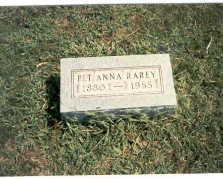 RAREY, PET ANNA - Franklin County, Ohio   PET ANNA RAREY - Ohio Gravestone Photos
