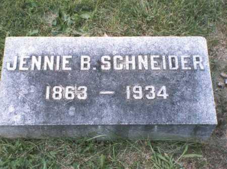 SCHNEIDER, JENNIE B. - Franklin County, Ohio   JENNIE B. SCHNEIDER - Ohio Gravestone Photos