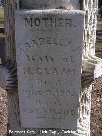 CLAAR, ARABELLA - Jackson County, Ohio | ARABELLA CLAAR - Ohio Gravestone Photos