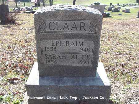 CLAAR, SARAH ALICE - Jackson County, Ohio | SARAH ALICE CLAAR - Ohio Gravestone Photos