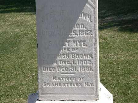 NYE BROWN, SALLY - Lorain County, Ohio   SALLY NYE BROWN - Ohio Gravestone Photos