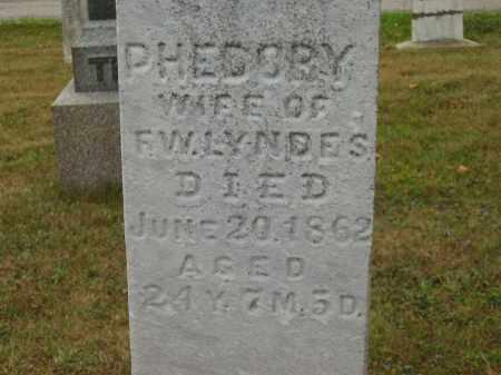 LYNDES, PHEDORY - Lorain County, Ohio   PHEDORY LYNDES - Ohio Gravestone Photos