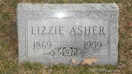 ASHER, LIZZIE - Lucas County, Ohio | LIZZIE ASHER - Ohio Gravestone Photos