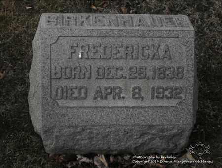 BIRKENHAUER, FREDERICKA - Lucas County, Ohio   FREDERICKA BIRKENHAUER - Ohio Gravestone Photos